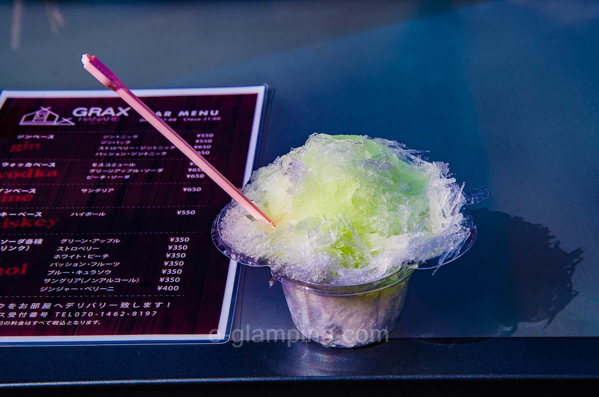 グリーンアップル味のかき氷