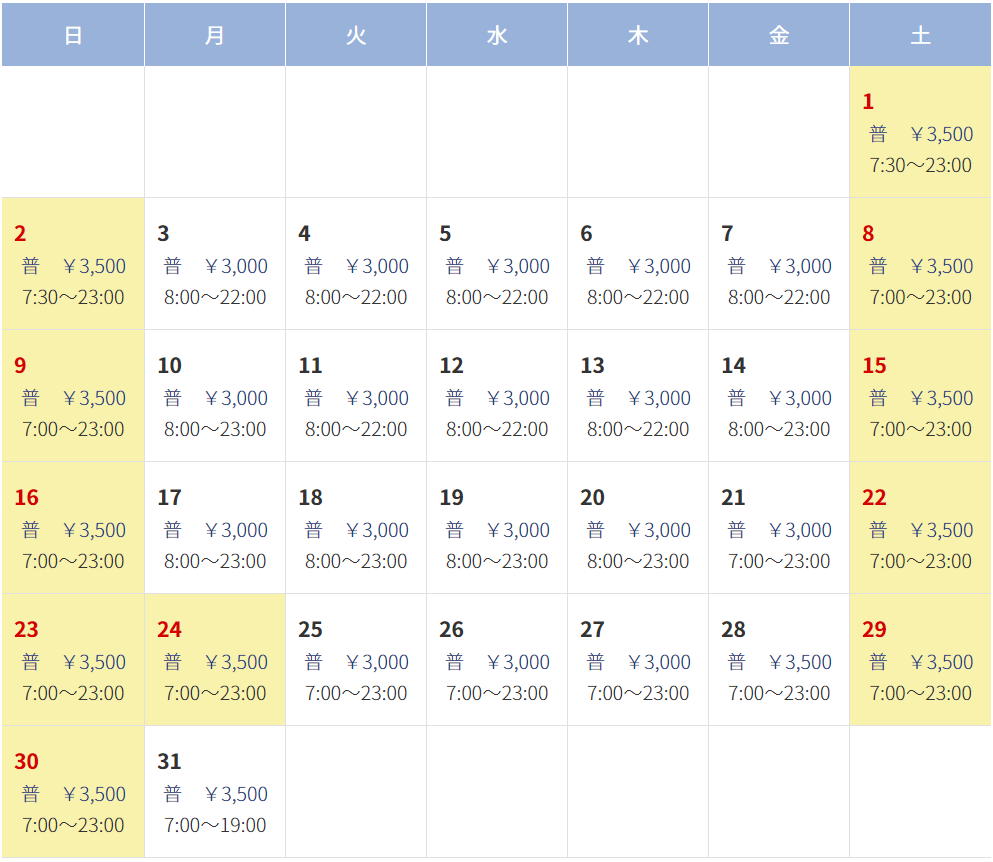 ユニバーサルスタジオジャパンの駐車場料金表(12月度)