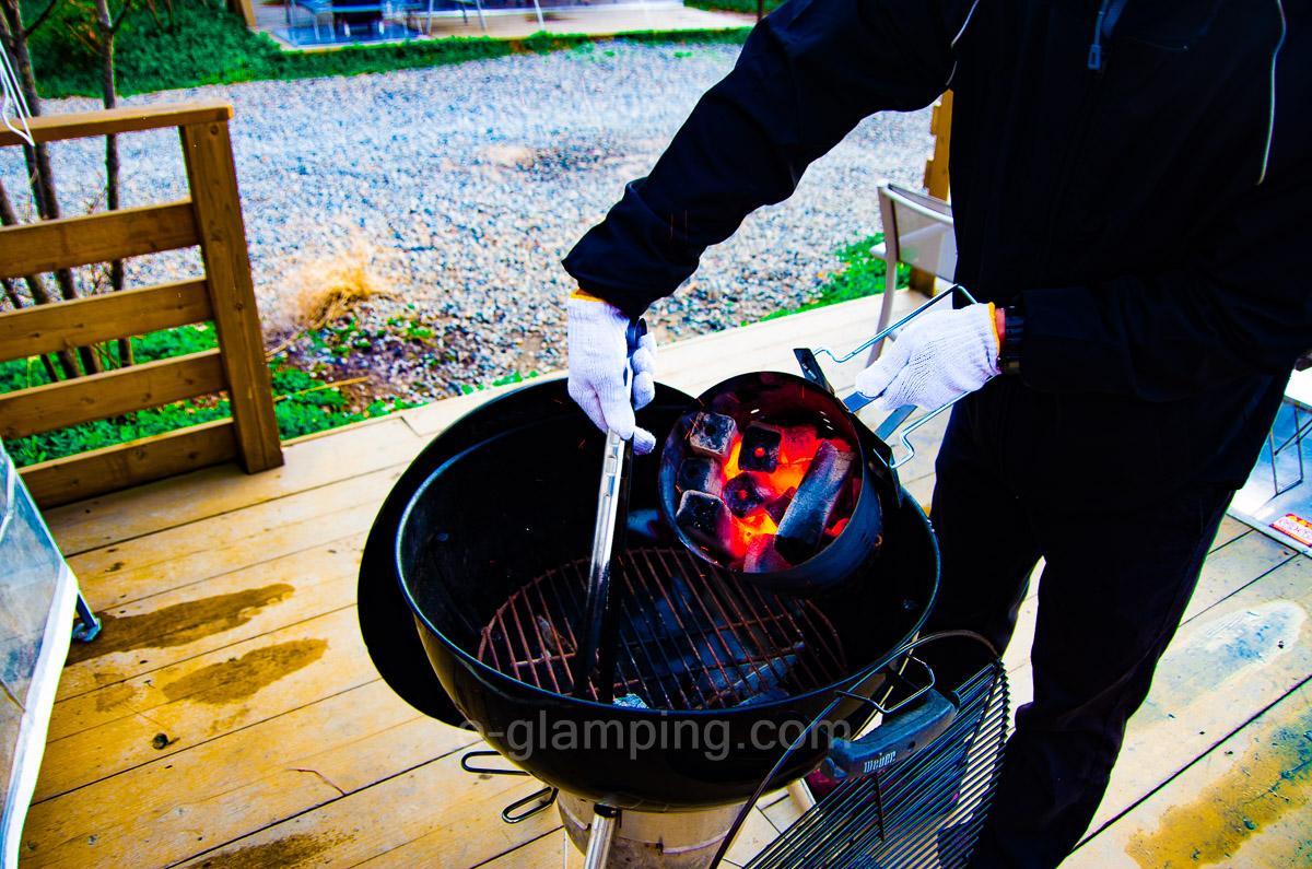 グランピング冬(グラックス)の焚火代わりにもなるBBQセット